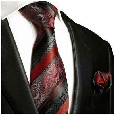Paul Malone Krawatte »Herren Seidenkrawatte Schlips mit Tuch modern barock gestreift 100% Seide« (Set, 2-St., Krawatte mit Einstecktuch) Breit (8cm), bordeaux rot weinrot 2032