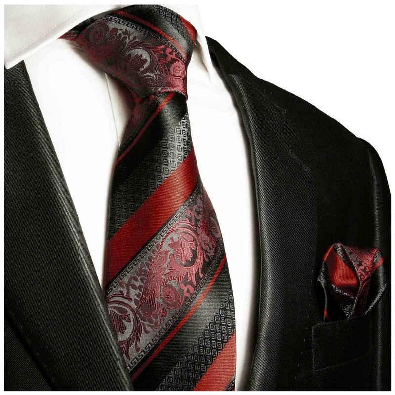 Paul Malone Krawatte »Herren Seidenkrawatte Schlips mit Tuch modern barock gestreift 100% Seide« (Set, 2-St., Krawatte mit Einstecktuch) Schmal (6cm), bordeaux rot weinrot 2032