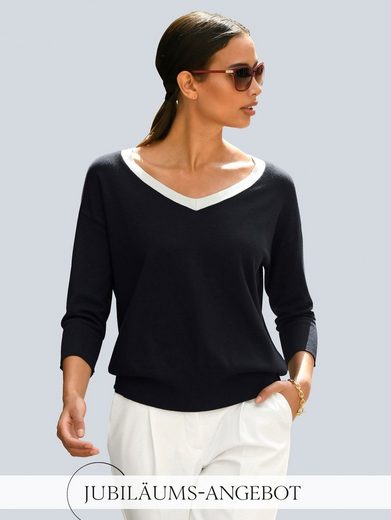 Alba Moda Strickpullover mit kontrasfarbigem Ausschnitt