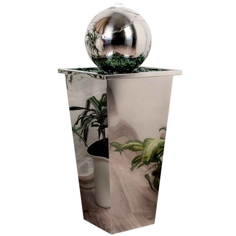 Köhko Zimmerbrunnen »KÖHKO® Springbrunnen mit LED-Beleuchtung in eckigen Edelstahlbecken hochglanzpoliert 21016 Gartenbrunnen aus Edelstahl«