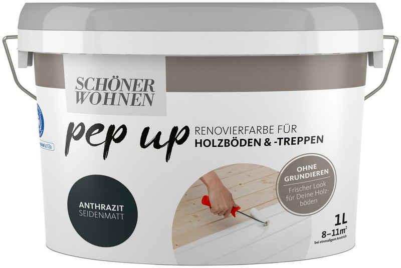 SCHÖNER WOHNEN-Kollektion Treppen- und Parkettlack »pep up - anthrazit«, seidenmatt, für Holzböden und -treppen, 1 l