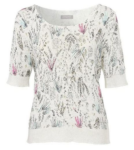Passport Strickpullover »passport Urban Nature Strick-Pullover modischer Damen Pulli mit Blumen-Muster Freizeit-Pulli Weiß«