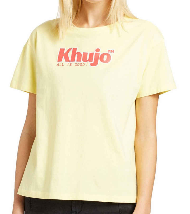 khujo Rundhalsshirt »khujo Marlenia Kurzarm T-Shirt farbenfrohes Logo-Shirt für Damen Sommer-Shirt Gelb/Rot«