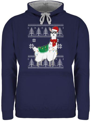 Shirtracer Hoodie »Weihnachtslama - weiß - Weihnachten & Silvester - Unisex Damen & Herren Kontrast Hoodie«