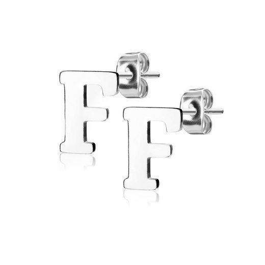 BUNGSA Ohrstecker-Set »Ohrstecker Buchstaben Silber Edelstahl Damen« (1 Paar (2 Stück), inkl. Schmuckbeutel aus Organza), Ohrschmuck Ohrringe