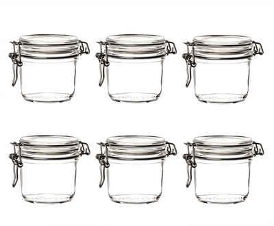 Bormioli Rocco Einmachglas »Fido 6er Set Vorratsgläser 350 ml − Gläser mit Bügelverschluss − Bügelgläser rund mit Deckel«, Glas. Gummi. Metall, (6-tlg)