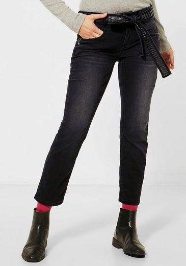 STREET ONE 7/8-Jeans »Tilly« (2-tlg) mit glitzderndem Bindegürtel