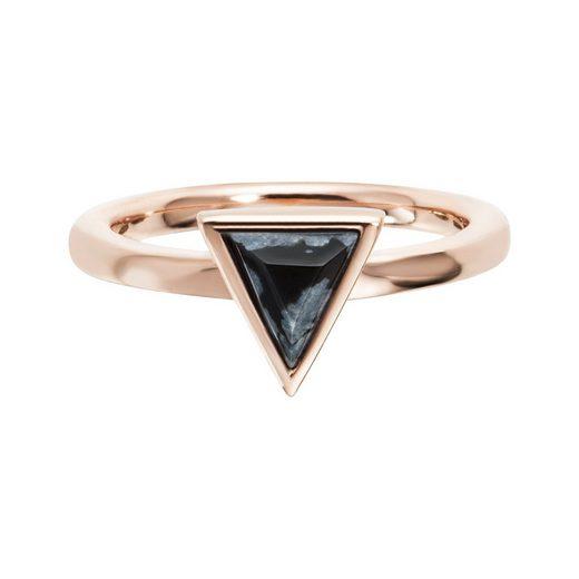 CAÏ Ring »925/- Sterling Silber rotvergoldet Dreieck Obsidia«
