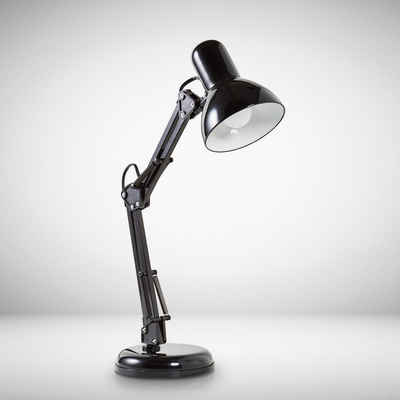 B.K.Licht Schreibtischlampe »Draco«, Tischlampe schwarz Metall Retro Schreibtisch-Leuchte drehbar & schwenkbar E14