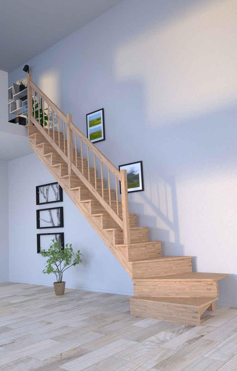 Starwood Systemtreppe »Massivholz Lindos, Holz-Holz Design Geländer«, für Geschosshöhen bis 300 cm, Durchgehende Wangenteile