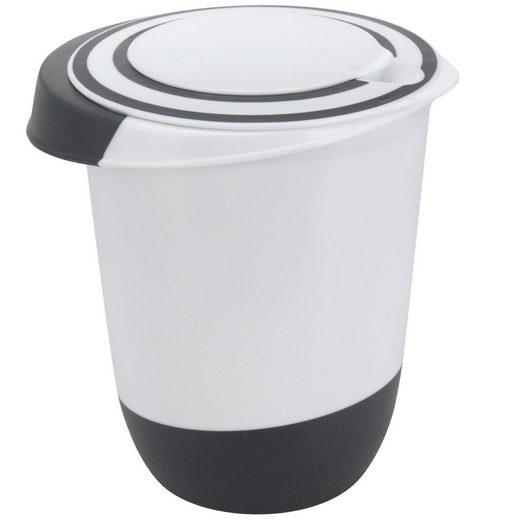 BigDean Rührschüssel »mit Spritzschutz−Deckel 1,5 Liter Rühröffnung Stoppboden Teigschüssel 1,5L«, Kunststoff