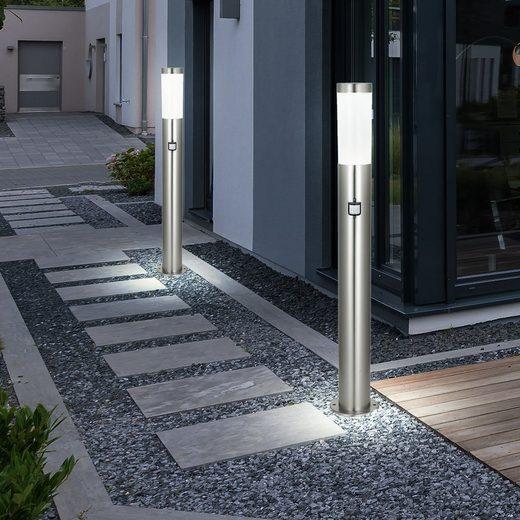 etc-shop LED Außen-Stehlampe, 2er Set Stand Leuchte Außen Balkon Beleuchtung Edelstahl Bewegungsmelder IP44