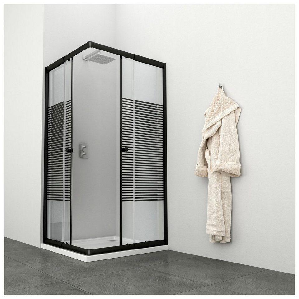 Eckdusche »Trento Black«, variabel verstellbar 80-90 cm, Duschkabine, BxT:  90 x 90 cm online kaufen | OTTO