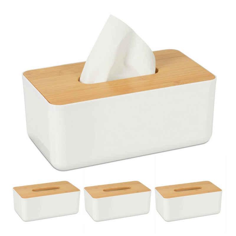 relaxdays Papiertuchbox »4 x Tücherbox mit Bambus-Deckel«