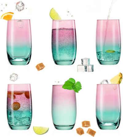 PLATINUX Glas »Trinkgläser«, Glas, Rosa-Türkis Bunt 300ml (max.370ml) Set 6 Stück Wassergläser Saftgläser Longdrinkgläser