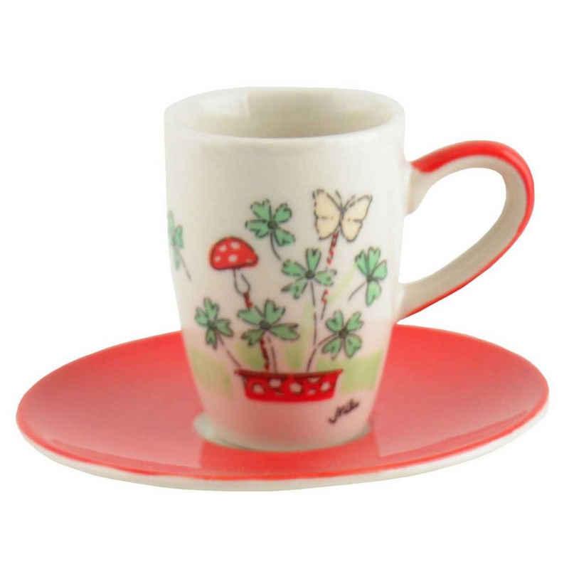 Mila Espressotasse »Mila Keramik Espresso-Tasse mit Untere Viel Glück«, Keramik