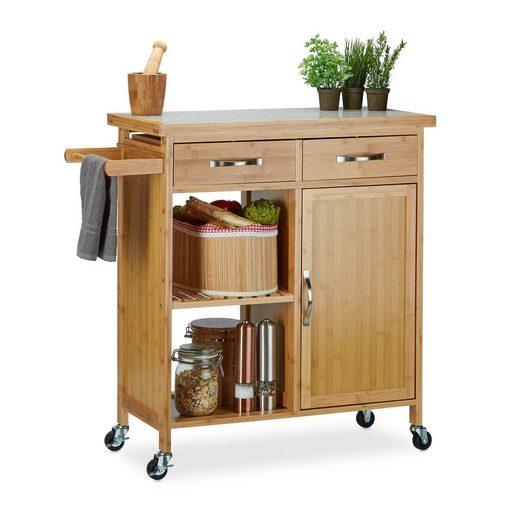 relaxdays Küchenwagen »Küchenwagen mit Marmorplatte«