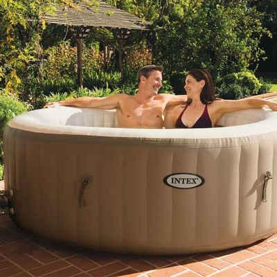 Intex Whirlpool »Aufblasbarer Whirlpool Intex Pure Spa 77 128426 Bubble Massage beige Ø 196 x 71 cm integriertes Kalkschutzsystem 120 Luftdüsen inkl. Thermoabdeckung«