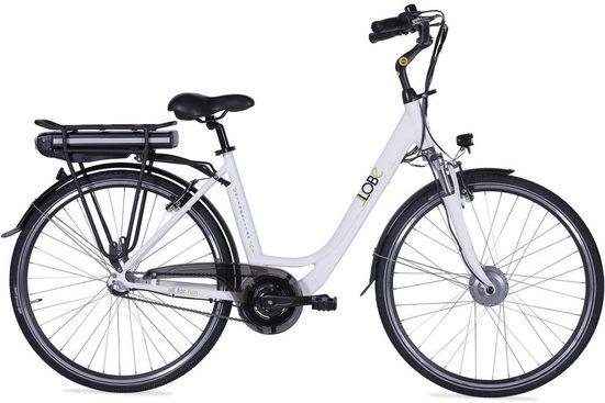 LLobe E-Bike »Metropolitan JOY weiß 8Ah«, 3 Gang, Nabenschaltung, Frontmotor 250 W