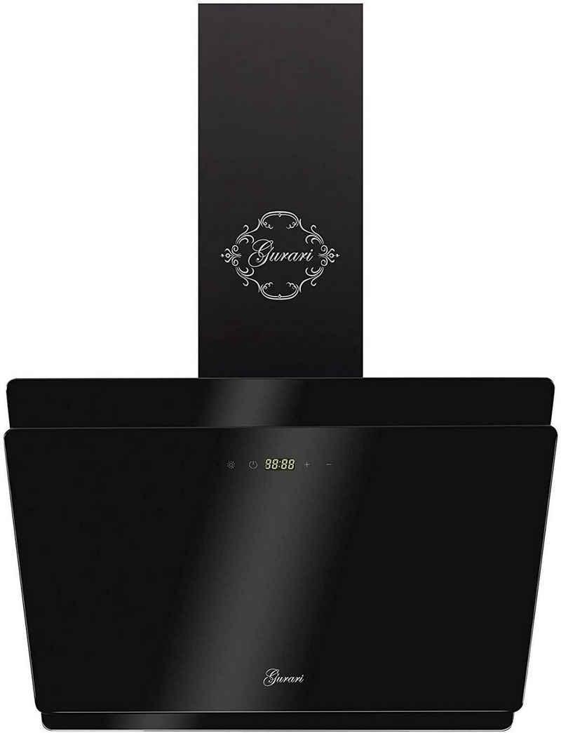 GURARI Wandhaube GCH S 411 60 BL PRIME/4.5, Designer Dunstabzugshaube 60 cm, Schwarz Glas,1000m³/h, 4 Stufen,Display, Randabsaugung,Timer, Fernbedienung, Wandhaube,Ablufthaube,Umlufthaube