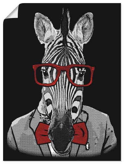 Artland Wandbild »Hipster Afrika Zebra mit Sonnenbrille«, Humor (1 Stück), in vielen Größen & Produktarten - Alubild / Outdoorbild für den Außenbereich, Leinwandbild, Poster, Wandaufkleber / Wandtattoo auch für Badezimmer geeignet