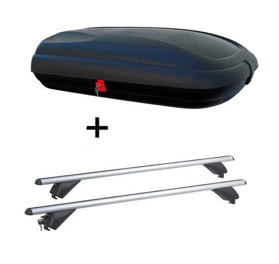 VDP Fahrradträger, Dachbox VDPBA320 320Ltr carbonlook abschließbar + Alu Dachträger RB003 kompatibel mit Lexus RX (5Türer) ab 2016