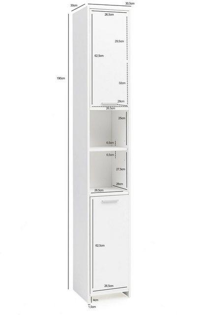 Badschränke - FINEBUY Hochschrank »FB51822« Badschrank Modern Holz 30,5 x 190 x 30 cm Weiß Badezimmerschrank mit 2 Türen Beistellschrank Mehrzweckschrank Hochschrank schmal Badezimmer Standregal Hoch  - Onlineshop OTTO