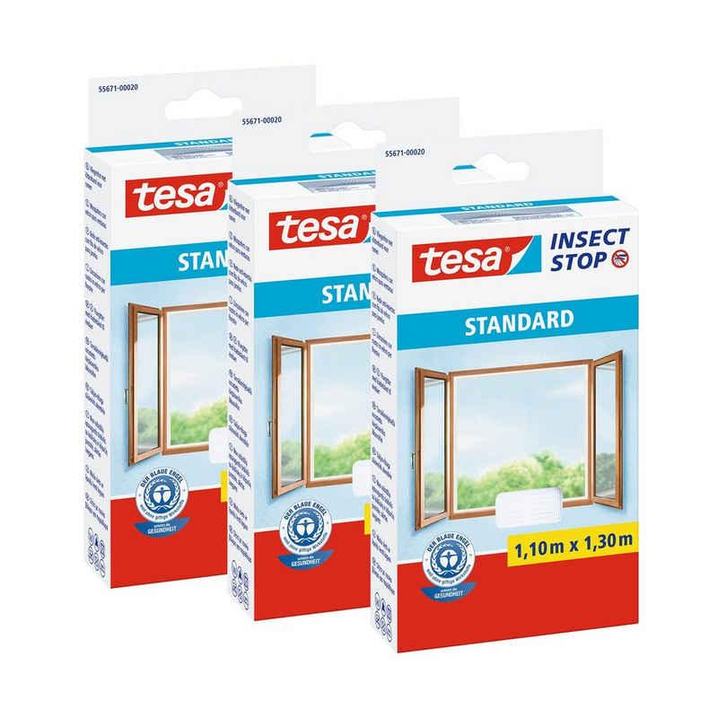 tesa Insektenschutz-Fenster »3x Insect Stop Fliegengitter STANDARD für Fenster«, (1-St), Insektenschutz, Schnelle Montage, Waschbar bis 30°C