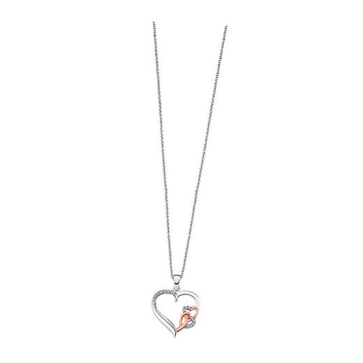 LOTUS SILVER Silberkette »JLP1596-1-1 LOTUS Silver Herzen Halskette rose« (Halsketten), Damen Kette Herzen aus 925 Sterling Silber, weiß, rosevergoldet, silber