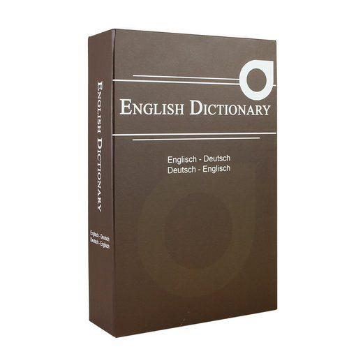HMF Geldkassette »English Dictionary«, Buchtresor Geldversteck mit Zylinderschloss, 23,5 x 15,5 x 5,5 cm, Braun