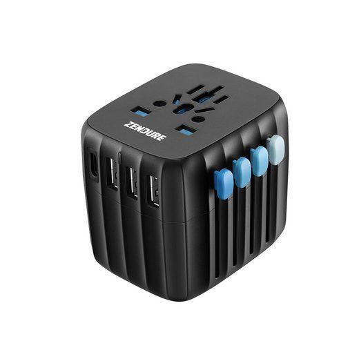 Zendure »Passport GO 30W World Travel Adapter« Stromadapter USB-C, 3x USB-A 3.0, Multiregion-AV Ausgang, 30W, Reiseadapter für mehr als 200 Länder weltweit, US/UK/EU/AU Stromadapter, selbstrückstellende Sicherung, USB-C Port, 3 USB-A Ports, Multiregion-AC Ausgang