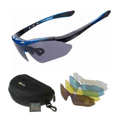 ROCKBROS Fahrradbrille »Fahrradbrille Polarisiert Sportbrille BLAU Sonnenbrille Brille UV400 + ETUI + 4 Ersatzgläser«
