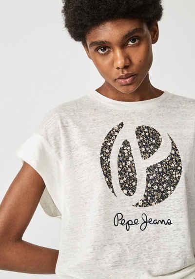 Pepe Jeans Print-Shirt »ALICE« mit weitem Ärmelausschnitt und großem Frontprint mit geblümtem Marken-Logo