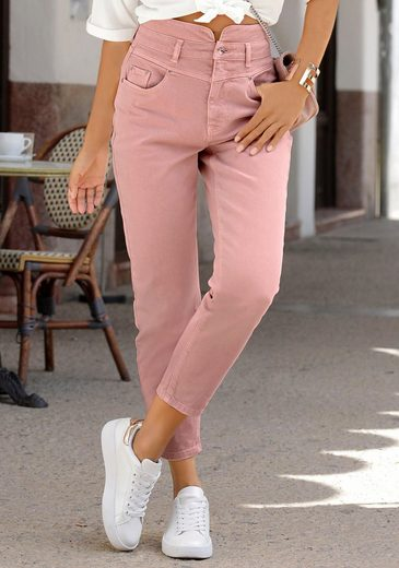 LASCANA Mom-Jeans in Used-Waschung