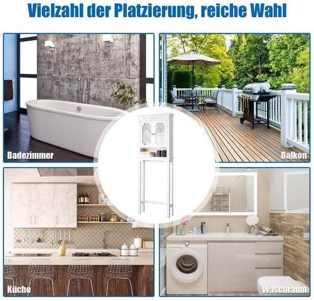 Badregale - COSTWAY Badregal »Badregal Waschmaschinenregal weiß«, mit verstellbarem Regal und offenem Fach, mit Glastüren  - Onlineshop OTTO