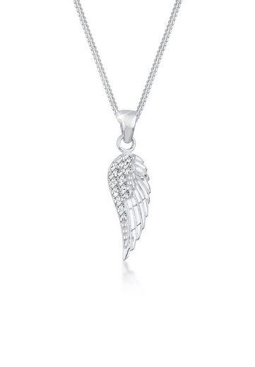 Elli Collierkettchen »Flügel Anhänger mit Swarovski Kristalle 925 Silber«