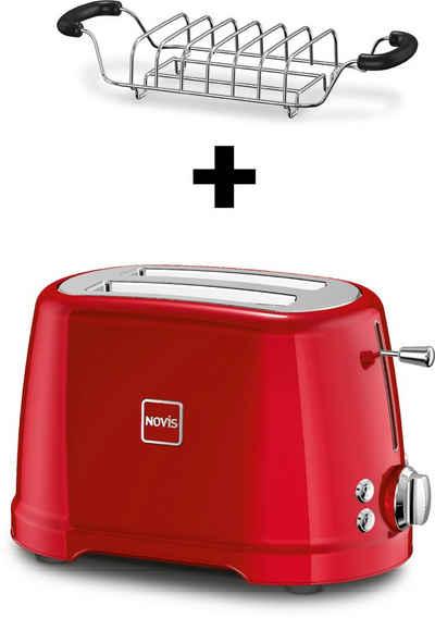 NOVIS Toaster T2 rot SET, 2 kurze Schlitze, 900 W, mit Brötchenwärmer