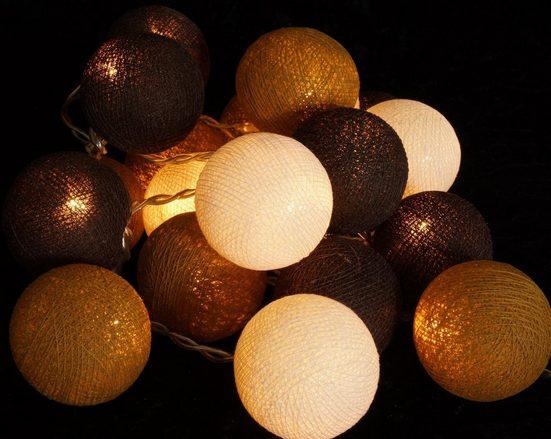 Guru-Shop LED-Lichterkette »Stoff Ball Lichterkette, LED Kugel Lampion..«