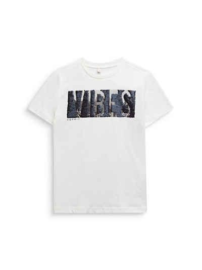 Esprit T-Shirt »Meliertes T-Shirt mit Wende-Pailletten« (1-tlg)