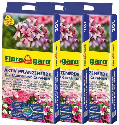 Floragard Geranienerde »Aktiv Pflanzenerde«, mit Langzeitdünger, (3-St), für Balkon und Geranien, 3x20 Liter
