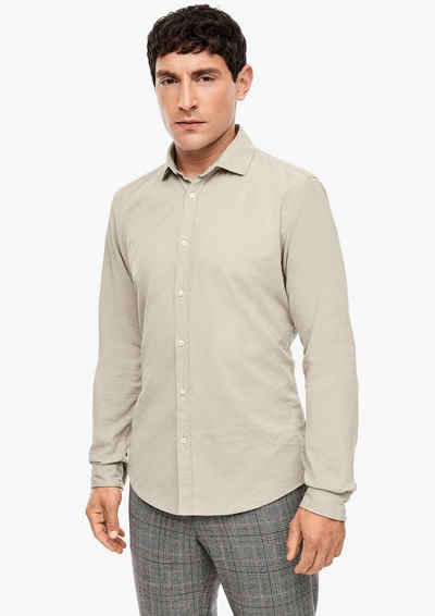 s.Oliver BLACK LABEL Langarmhemd »Slim: Hemd aus Cord« Blende