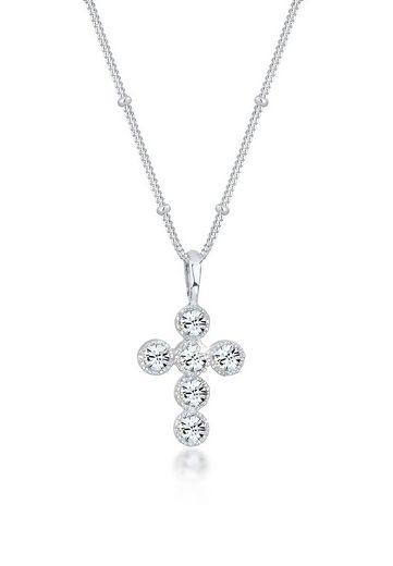 Elli Collierkettchen »Kreuz Kugelkette Swarovski® Kristalle 925 Silber«