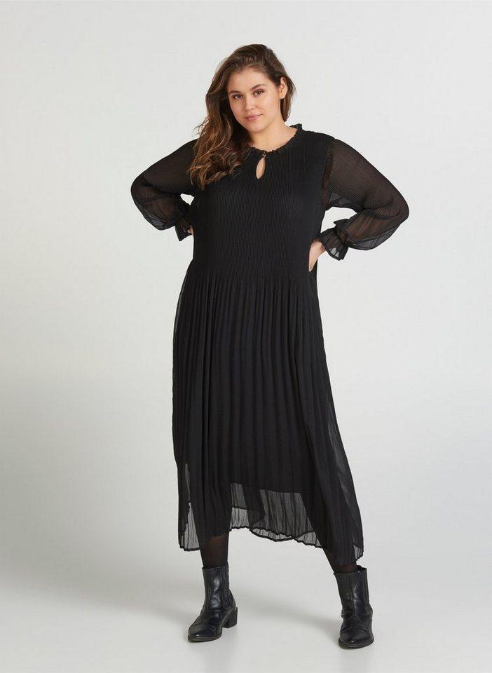 Zizzi Plisseekleid Grosse Grossen Damen Kleid Mit Plissee Und Langen Armeln Online Kaufen Otto