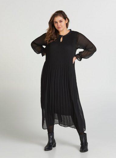 Zizzi Plisseekleid Große Größen Damen Kleid mit Plissee und langen Ärmeln