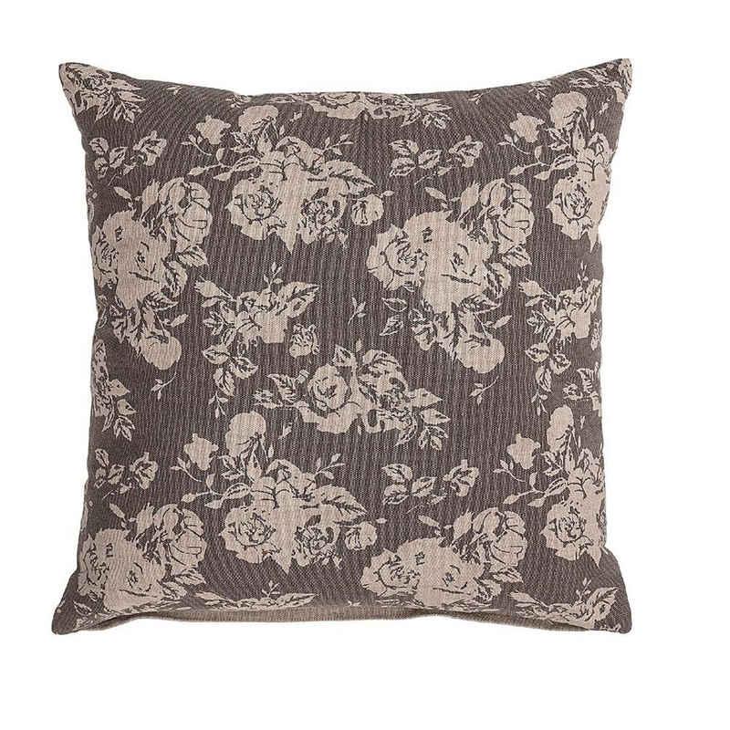 Bloomingville Dekokissen »Kissen braun 50 x 50 cm«, Blumen-Motiv, braun, Zierkissen, Sofakissen, dänisches Design
