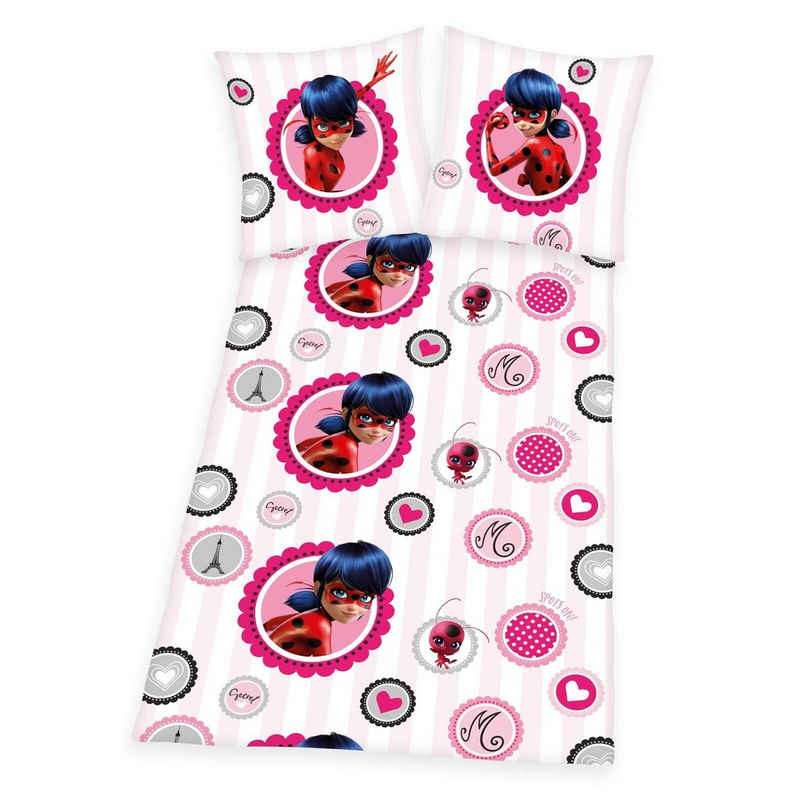 Kinderbettwäsche »Miraculous Ladybug - Bettwäsche-Set in Feinbiber von Herding, 135x200 & 80x80 cm«, Miraculous - Ladybug, 65% Baumwolle / 35% Polyester