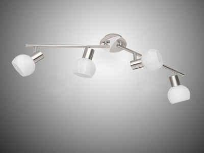 meineWunschleuchte LED Deckenstrahler, dimmbarer Licht-Spot 2-flammig schwenkbarer Aufbauspot Glasschirm Wand-Strahler