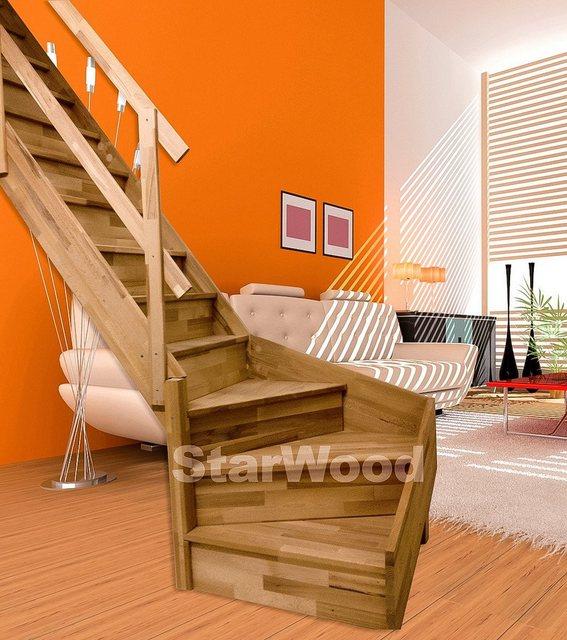 Starwood Massivholz-Wangentreppe Rhodos, ¼ gewendelt, mit Setzstufen & Metall-Holzgeländer