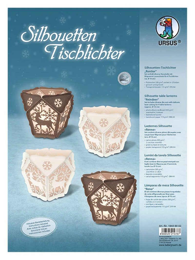 URSUS Motivpapier »Silhouetten-Tischlichter Rentier«, 4er-Set