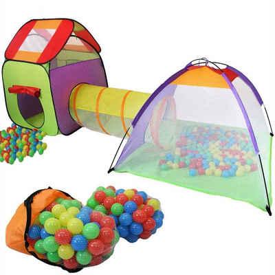 KIDUKU Spielzelt Kinderspielzelt Bällebad Pop Up Spielzelt Iglu Spielhaus + Krabbeltunnel + 200 Bälle + Tasche, für drinnen und draußen